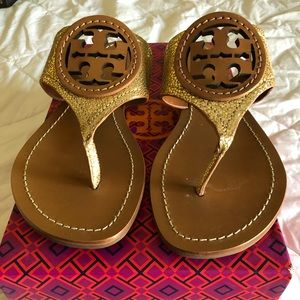 Pre owned Tory Burch gold and tan sandals size 9.5